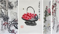 chinese pine, plum blossom, chrysanthemum and lychee (4 works) by wu changshuo