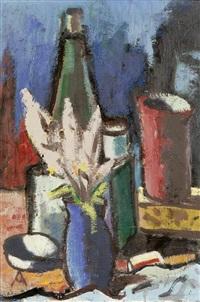 stilleben mit flasche, becher und blumensträusschen in einer vase by otto abt