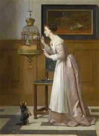 interieurszene mit einer dame, einem vogel und einem hund by florent willems