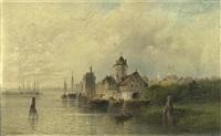 stadtansicht mit einer burg am meer by nicolai von astudin