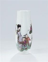 粉彩「母子图」瓷瓶 by rao xiaoqing