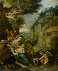 madonna mit kind und engeln by hans rottenhammer the elder