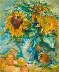 blumenstilleben mit sonnenblumen by alexander leo soldenhoff