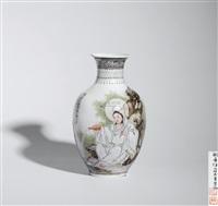 粉彩观音大士瓶 (a famille rose avalokitesvara vase) by liu xiren