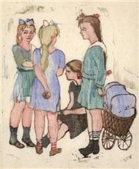 spielende kinder mit puppenwagen by joachim ragoczy