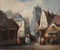 a market scene in rouen by paul denarie