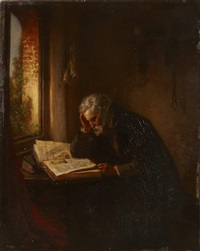 a scholar reading by a window by eugène françois de block