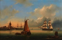 ships in a german harbor by govert van emmerik