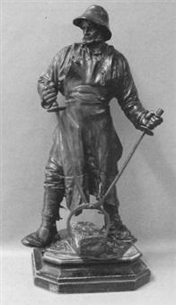 Metallobjekte Bronze Figur Eisengießer Hüttenman Frieder Friedrich Johann Reusch
