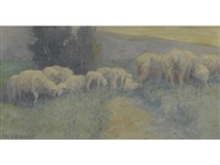 sheep grazing along a footpath by eanger irving couse