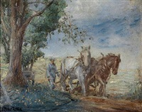 man with plough horses by philip little