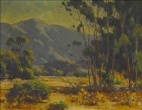 landscape with trees and montrose, dec. (2 works) by jack macartney
