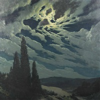cypress at dusk in moonlight by american school