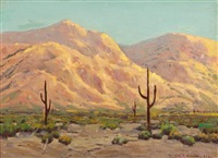 cactus in a desert landscape by william p. krehm