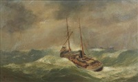 boats in rough seas by henry macartney