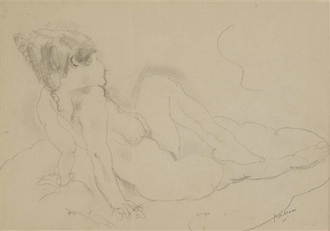reclining female by jules pascin