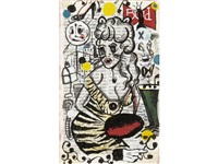 exodus v (man in tuxedo); exodus v (woman in dress) (2 works) by tony fitzpatrick