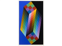 cube ii; torony iii (2 works) by victor vasarely