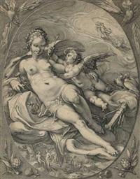 venus und amor (from (die 3 göttinnen) by hendrik goltzius