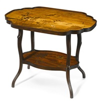 two tier chrysanthemum tea table by émile gallé