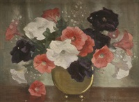 petunias in brass by marguerite stuber pearson