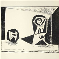 composition au verre à pied (+ nature morte au verre et à la pomme (le grand verre), print from zinc plate); 2 works) by pablo picasso
