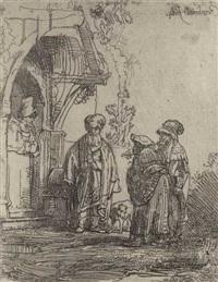 drei orientalische figuren (jakob und laban?) by rembrandt van rijn