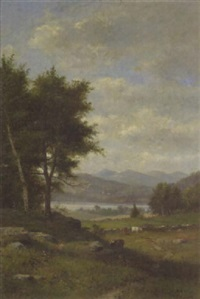 a pastoral landscape with cattle grazing and a river beyond by george frank higgins