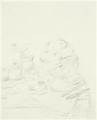 stilleben mit orangen und vogel by fernando botero