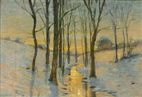 a winter landscape by julian alden weir