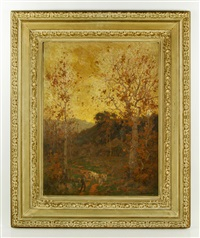 fall landscape with goatherd by maurice braun