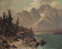 bergsee mit fischer by theodor (wilhelm t.) nocken