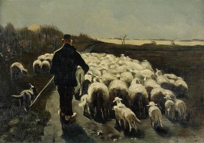 Schäfer mit seiner Herde im Abendlicht von Ernst Morgenthaler auf ... | {Herde 92}