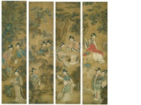 beauties in a garden (4 works) by qiu ying