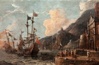 harbour with boats at anchor and merchants on the quayside by abraham jansz storck