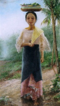 a young woman carrying a fruit basket on her head by f. alonso