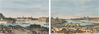 a view of paris, taken from the middle of pont neuf towards pont royal (+ a view of paris, from the church of nostre dame to the pont de la tournele, taken from the quai de miramion, smllr; 2 works) by jacques rigaud