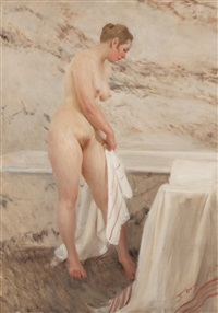 vid badkaret (by the bath tub) by anders zorn