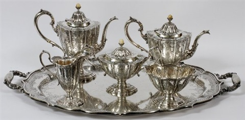 durgin sterling tea coffee set wtray early 20thc