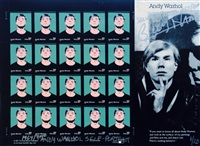 sheet of andy warhol self-portrait stamps signed by billy name by billy name
