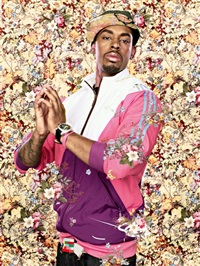 the virgin with the host (from black light series) by kehinde wiley