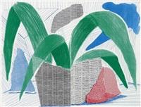 green grey & blue plant, july by david hockney