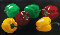 still life with yellow, red and green peppers by julian opie