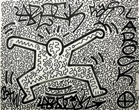 untitled (jumping man with rock) by la ii (angel ortiz) and keith haring