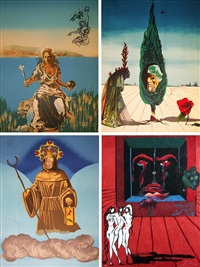 visions surréaliste (complete set of four works) by salvador dalí