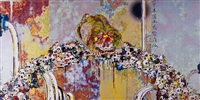 of chinese lions, peonies, skulls, and fountains by takashi murakami
