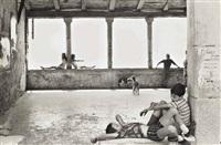 simiane-la-rotonde, france (children on window ledges) by henri cartier-bresson