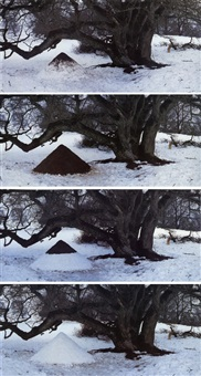 oak tree snow cairn, dumfriesshire (suite of 4 prints + 2 signature prints) by andy goldsworthy
