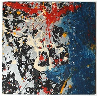 not pollock (blue poles) by mike bidlo