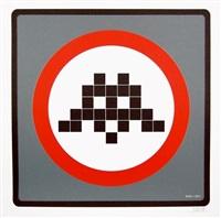 warning invader (grey) by invader